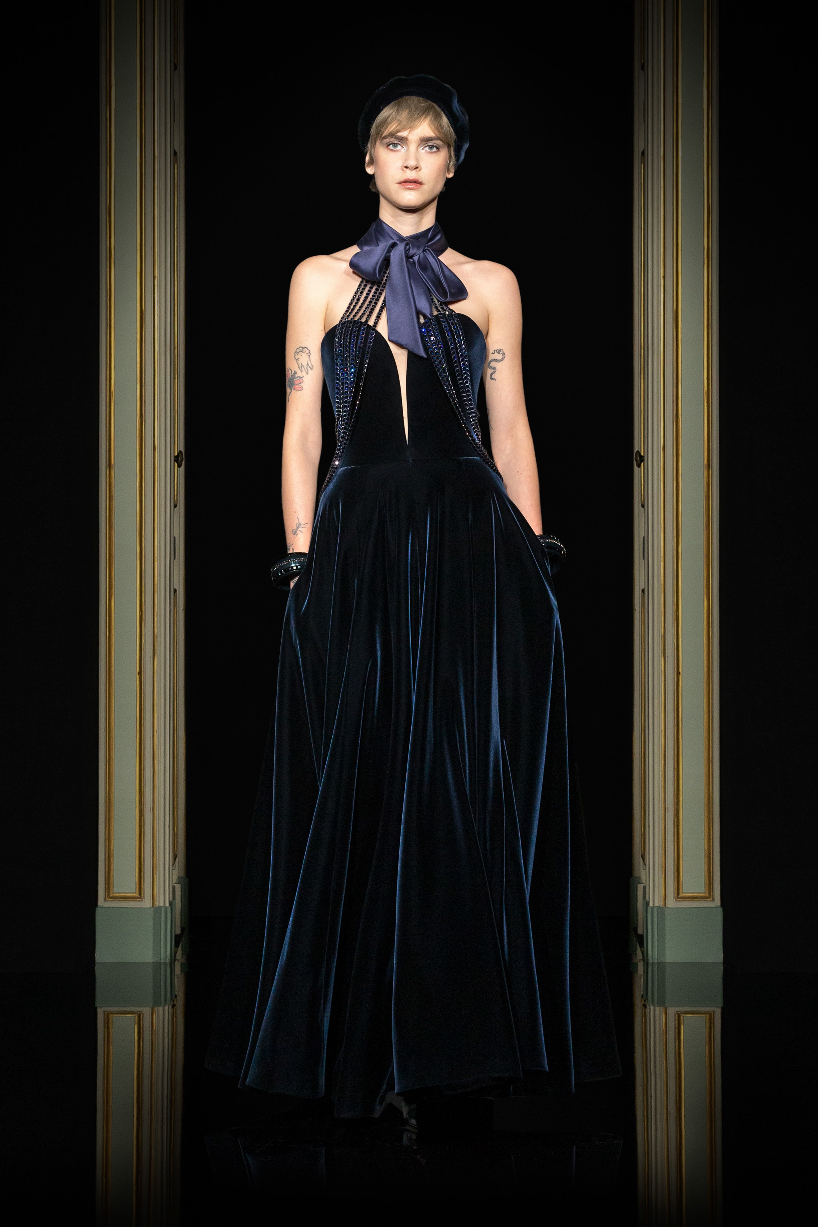 Armani Privé Spring 2021 Couture. A lady wearing a midnight blue velvet dress.
