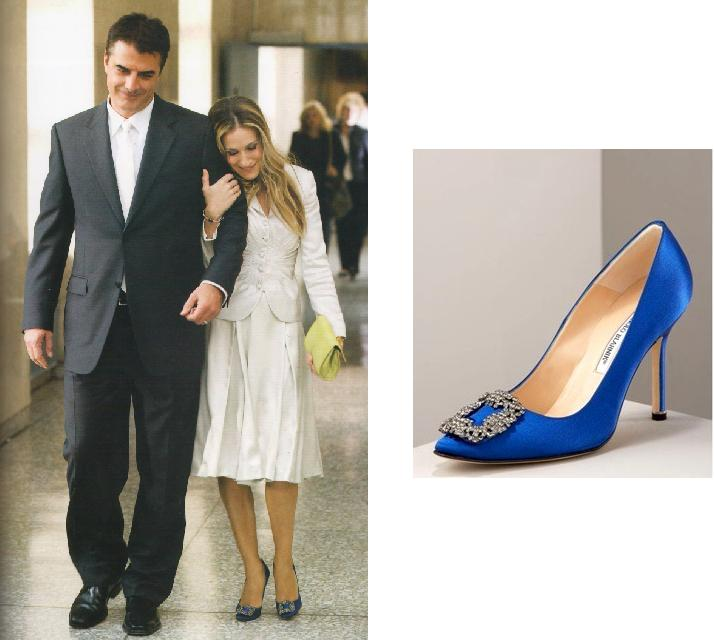 Carrie Bradshaw wearing a white jacket and skirt Manolo Blahnik Hangisi blue pumps, holding onto Big's arm who's wearing a suit. The second image is close up shot of Manolo Blahnik Hangisi blue pumps