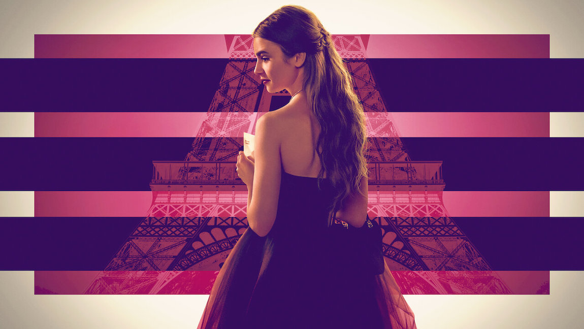 Emily in Paris title page - image of Emily wearing a black dress