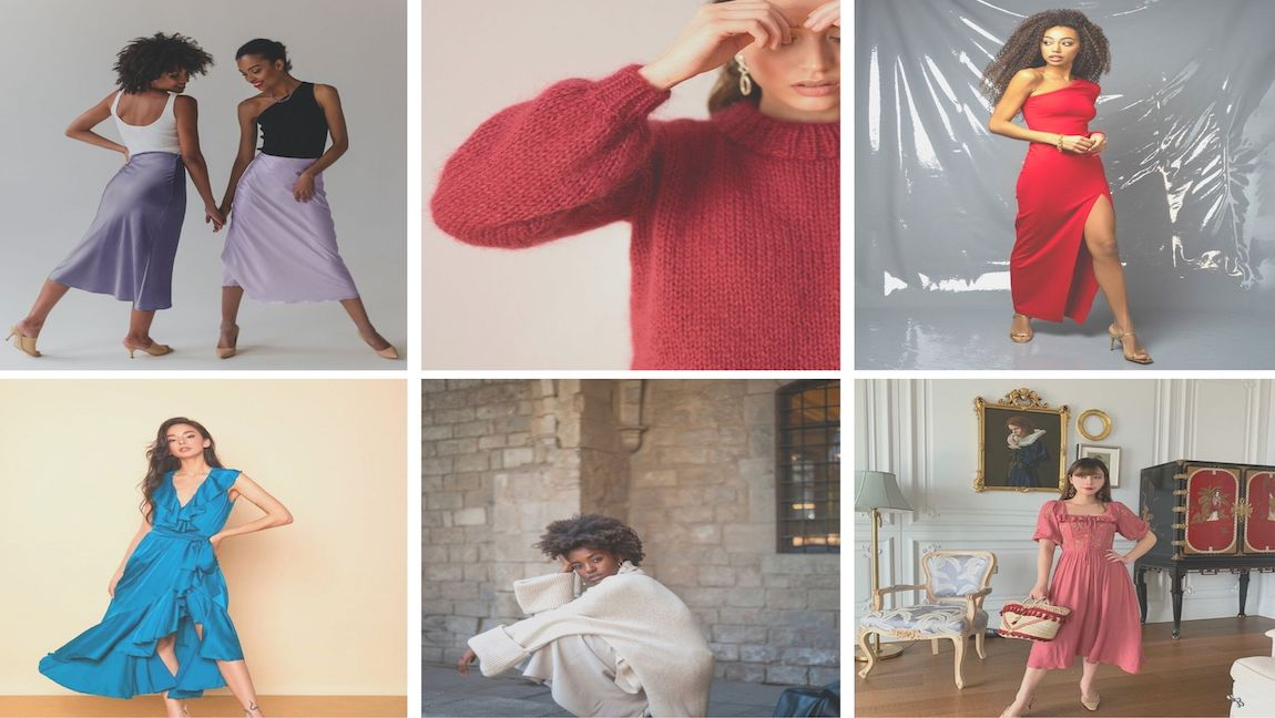 Photo collage of Valentine's Day outfit inspo, featuring images of slip skirts, wrap dress, knit, sweater, thigh-high slit dress and floral midi-dress.