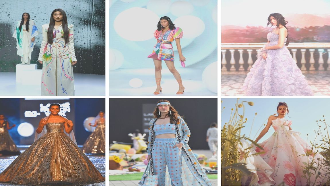 A collage of images from FDCI X Lakmé Fashion Week
