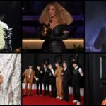 A collage different photos of Megan Thee Stallion, Beyoncé, BTS, Lil Baby, Cardi B, and Harry Styles at the Grammys.