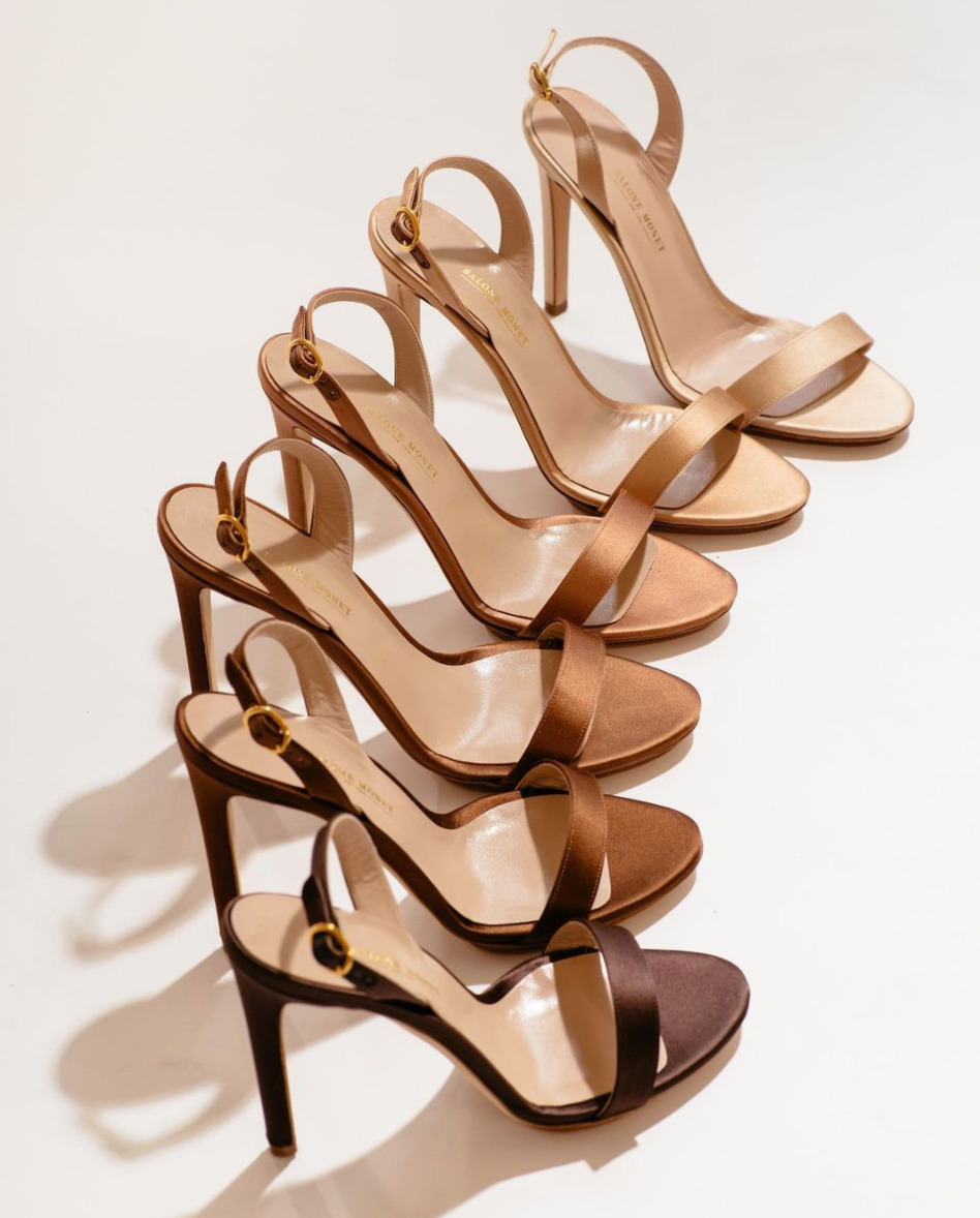 Image of six high heel sandals in various shades.