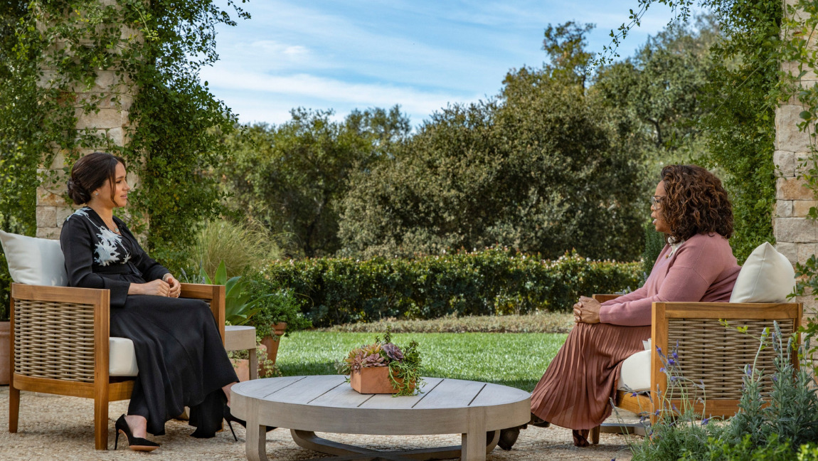 [Image description: photo captured from Oprah Winfrey interview with Meghan Markle.] Via vanityfair.com