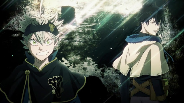 Asta stands on the left smiling at the audience while Yuno stands on the right turning around to look at the audience over his shoulder