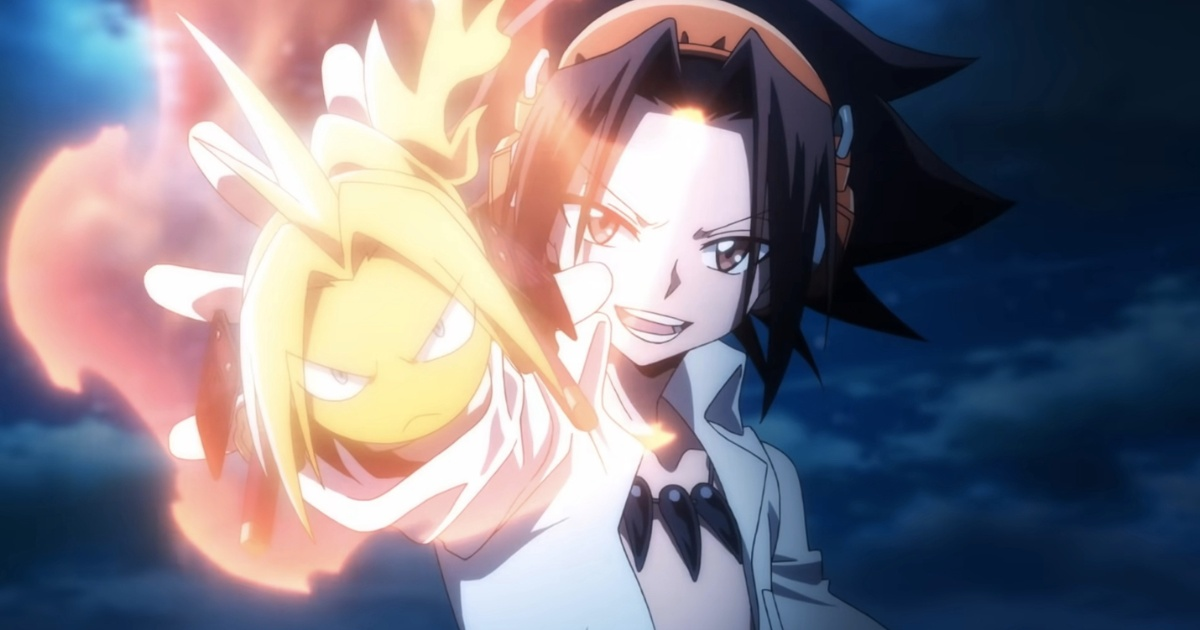 Yoh Asakura holding out his right hand with a fireball in the shape of his head
