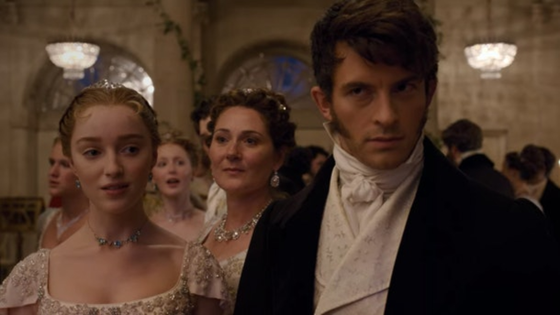 [Image description: Anthony Bridgerton with his glower at full throttle during Daphne's first ball in Season One.] Source: elitedaily.com.