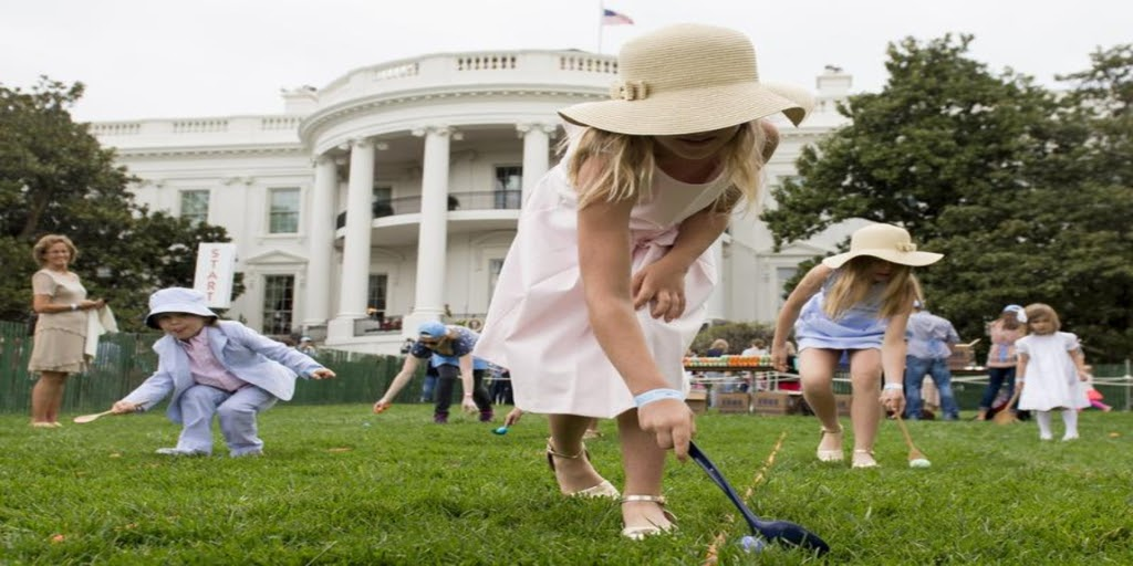 [Image description: Children participate in the annual Easter Egg Roll at the White House on April 17, 2017.] Source: historydaily.org.