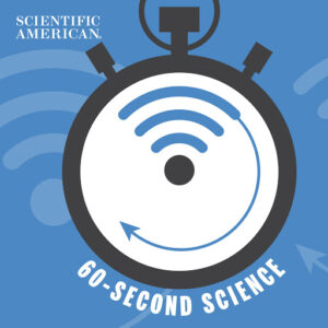 An alarm clock is on a blue background. The words '60 Second Science' is written in white under it. The Scientific American logo is on the top left.