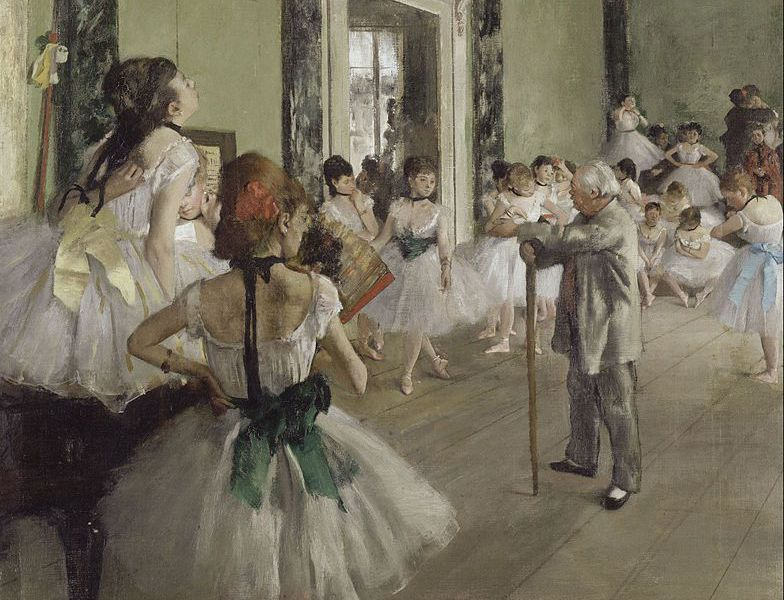[The Dance Class (La Classe de Danse), 1873–1876, oil on canvas, by Edgar Degas (Wikimedia Commons)]