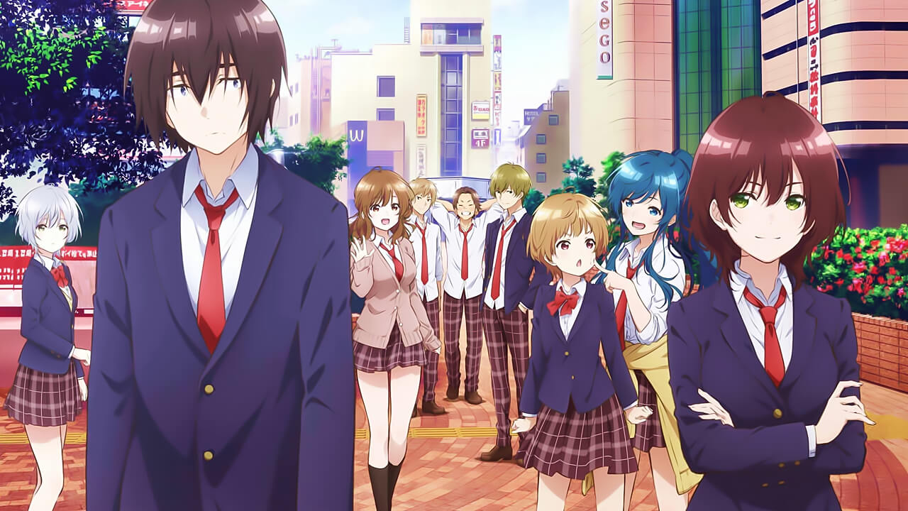 Fumiya Tomozaki (left) and Aoi Hinami (right) standing in front of several of their classmates