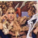 [Image Description: Painting of blonde woman sitting with a blue background] Painting of Queen Medb, by J. Leyendecker, 1916.