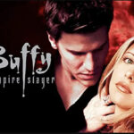 [image description: blonde woman with brunette man behind her, text on black background reads: Buffy the Vampire Slayer]