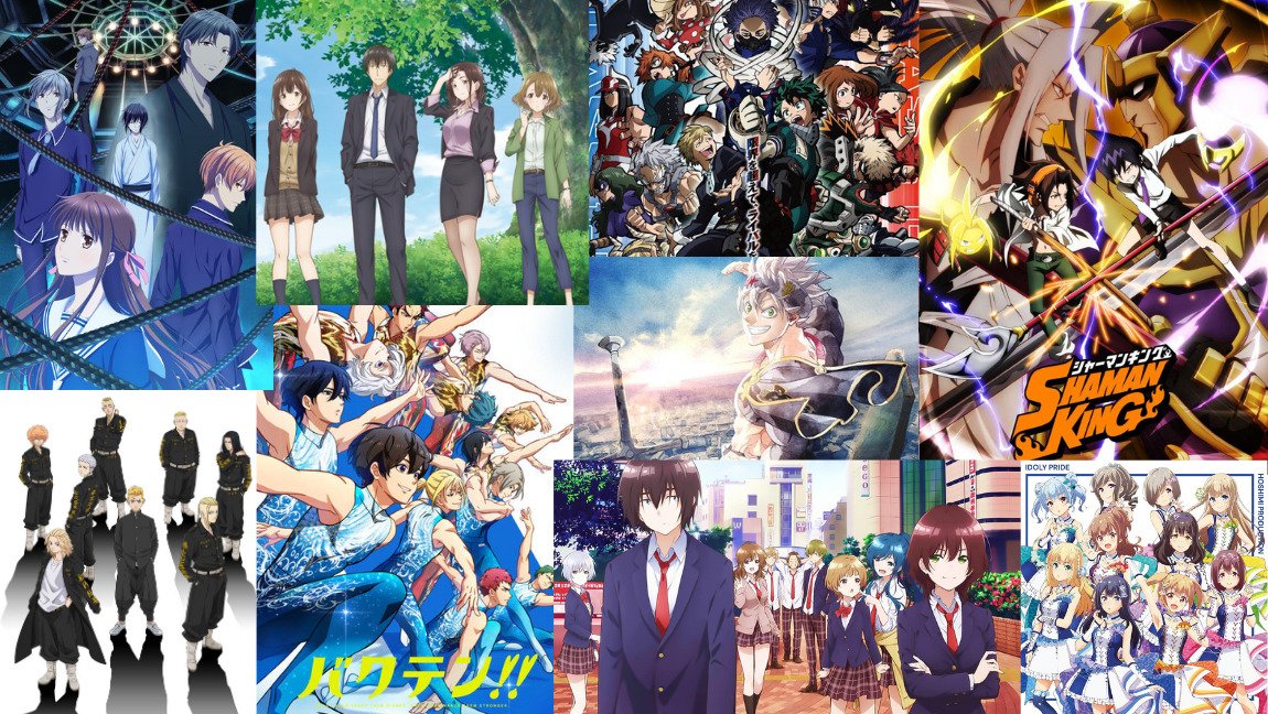 Collage of various anime airing or finishing up during the spring 2021 season posters