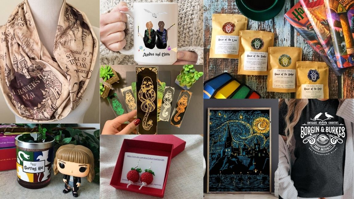 [Image description: collage of 8 items in the gift guide] via Etsy