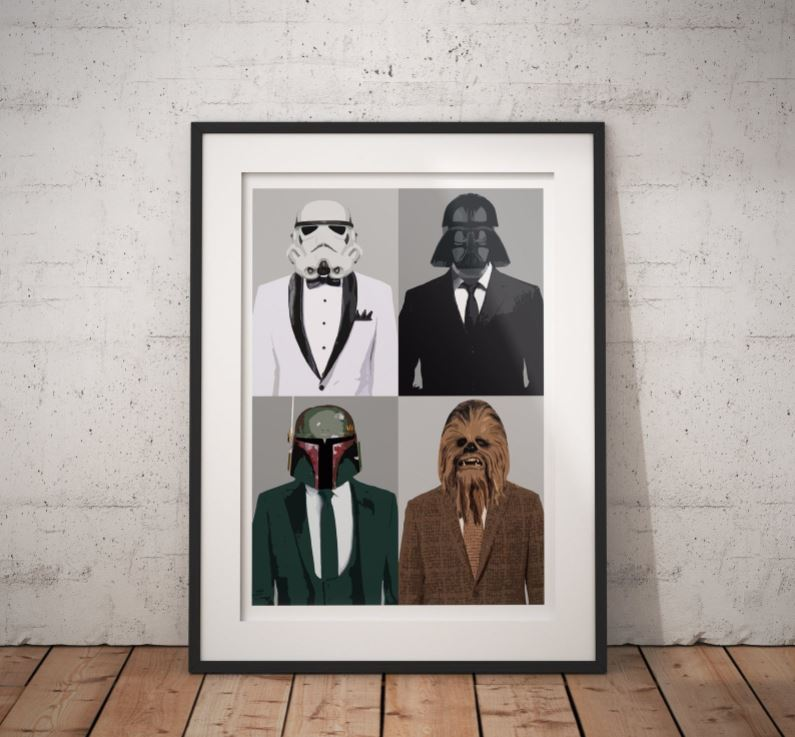 [Image description: Star Wars art décor. Collage of 4 Star Wars characters wearing tuxedos] via Etsy