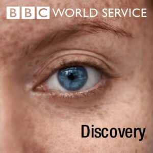 A part of a face with one blue eye visible looks at the camera. The words 'BBC World Service' are at the top of the image in white and the word 'Discovery' is on the bottom right in black.