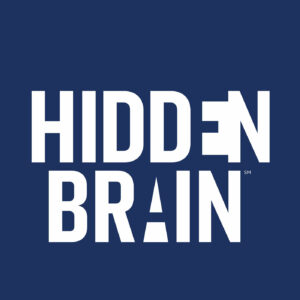 The words 'Hidden Brain' are written in white on a blue background.