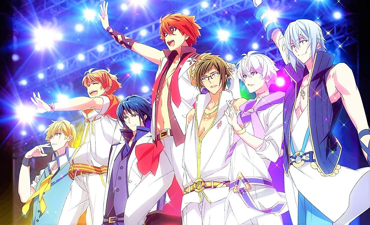 The boys of IDOLiSH7 walking out on stage