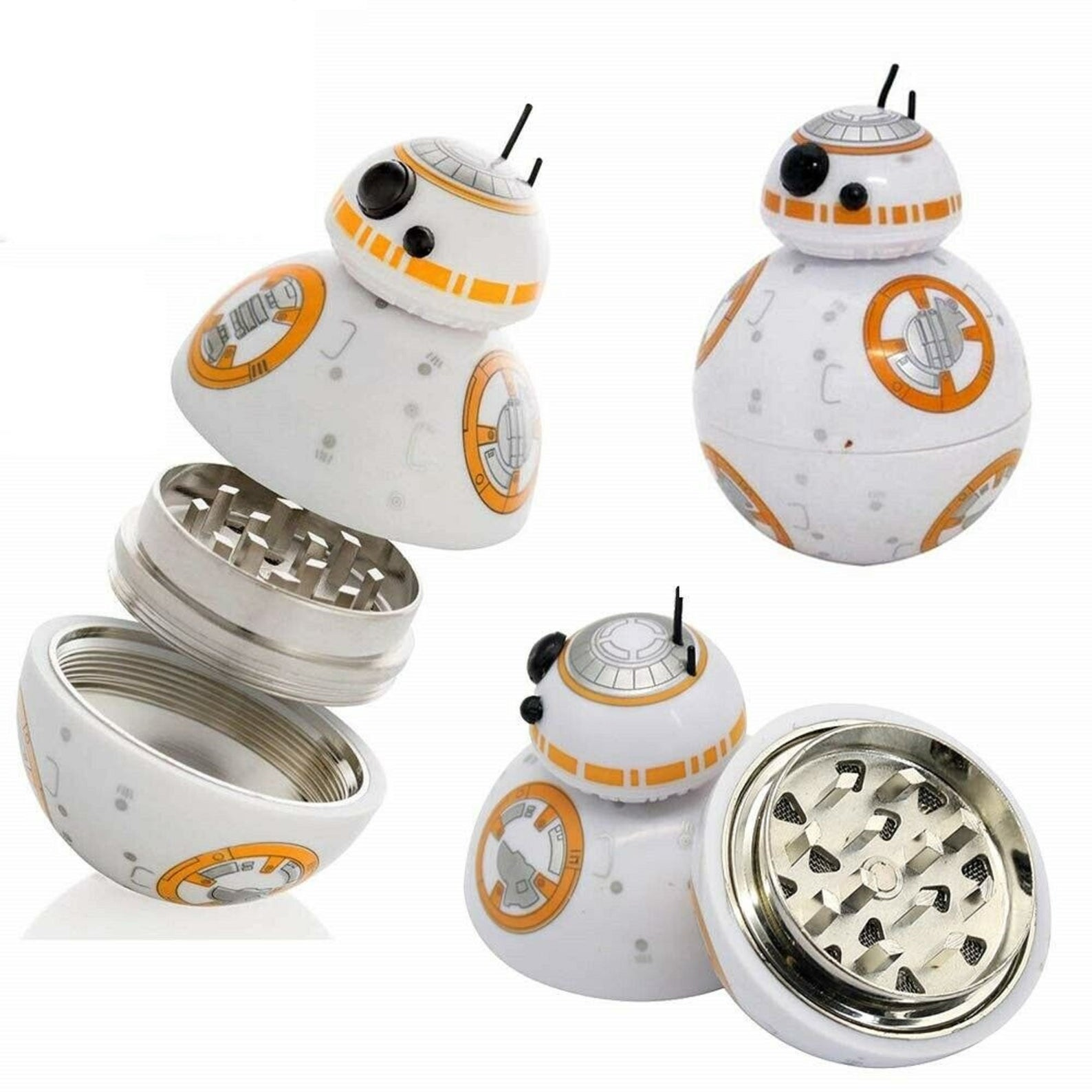 [Image description: three image view of a grinder shaped as BB-8]