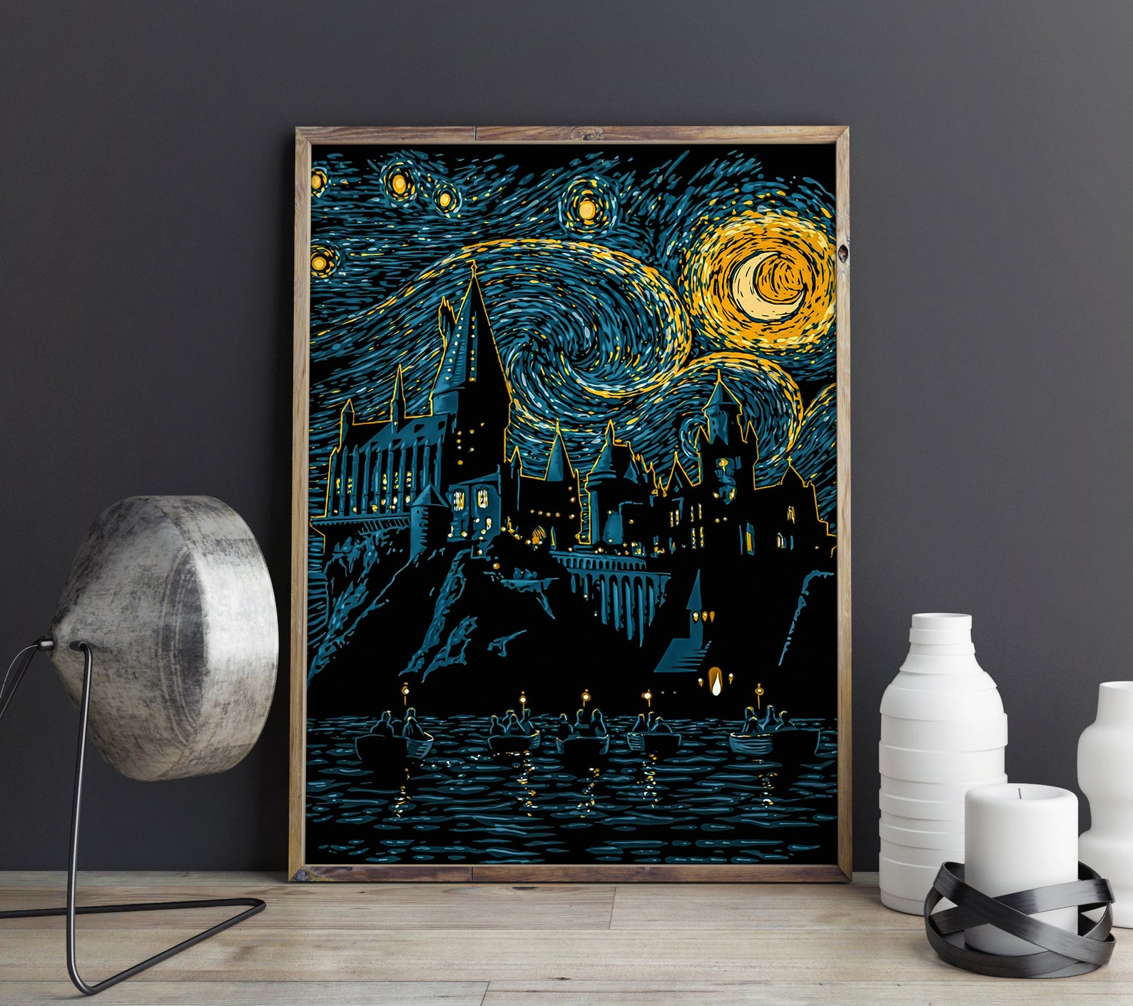 [Image description: a framed print of the Hogwarts Castle in the style of The Starry Night] via Etsy