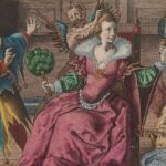 Seated woman looking into a mirror by Crispijn the Passe the Elder. To her right is a jester; a devil ruffles her hair, and another devil is seated to her left, starting a fire. via Wikimedia Commons