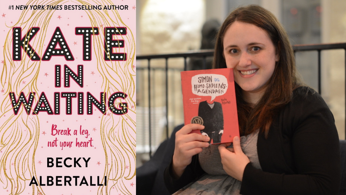 [Image Description: A collage of a picture of Becky Albertalli and the cover of Kate in waiting] Via Canva
