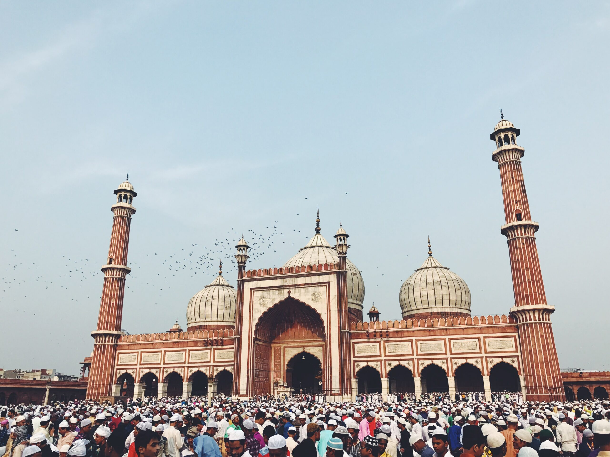 A picture of Jama Masjid in Chandni Chowk, Delhi which was designed and commissioned by Princess Jahanara.