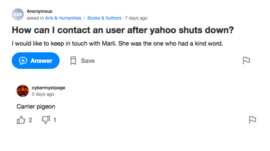 A Yahoo! Answers screenshot. Question: How can I contact an user after yahoo shuts down? Answer: Carrier pigeon