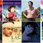 "A collage of ""Little Door Gods"", ""Spirited Away"", ""Minari"", ""Shirkers"", ""Parasite"", ""Perfect Blue"", ""Lagaan"", ""Bad Genius"" (clockwise)"