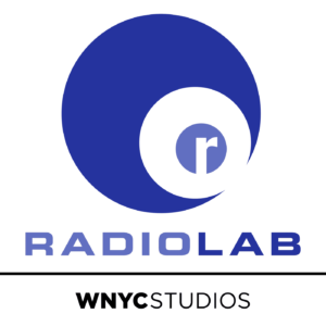 The Radiolab logo, the letter 'r' is encased in a light blue circle, which is in turn in concentric white and dark blue circles. The word 'Radiolab' is in blue and under it the words 'WNYC Studios' are in black.