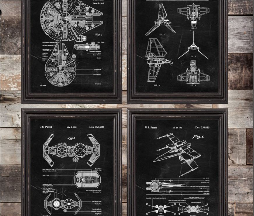 [Image description: A set of 4 Star Wars themed posters] via Etsy