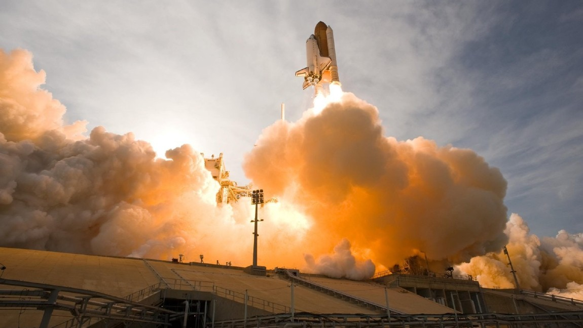 The launch of a white space rocket.
