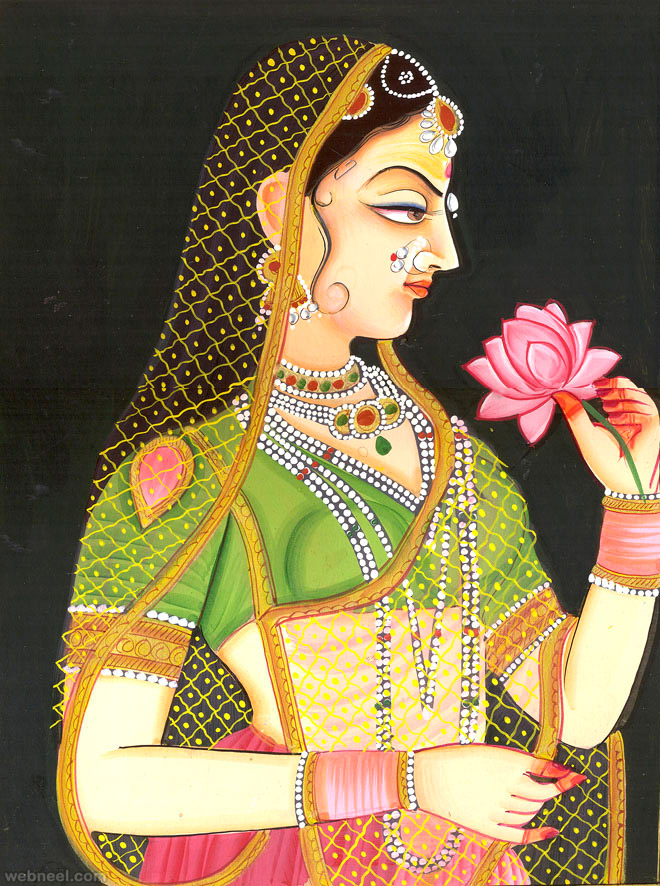 Mughal-era Painting depicting an Indian woman with Mehendi on her hands.