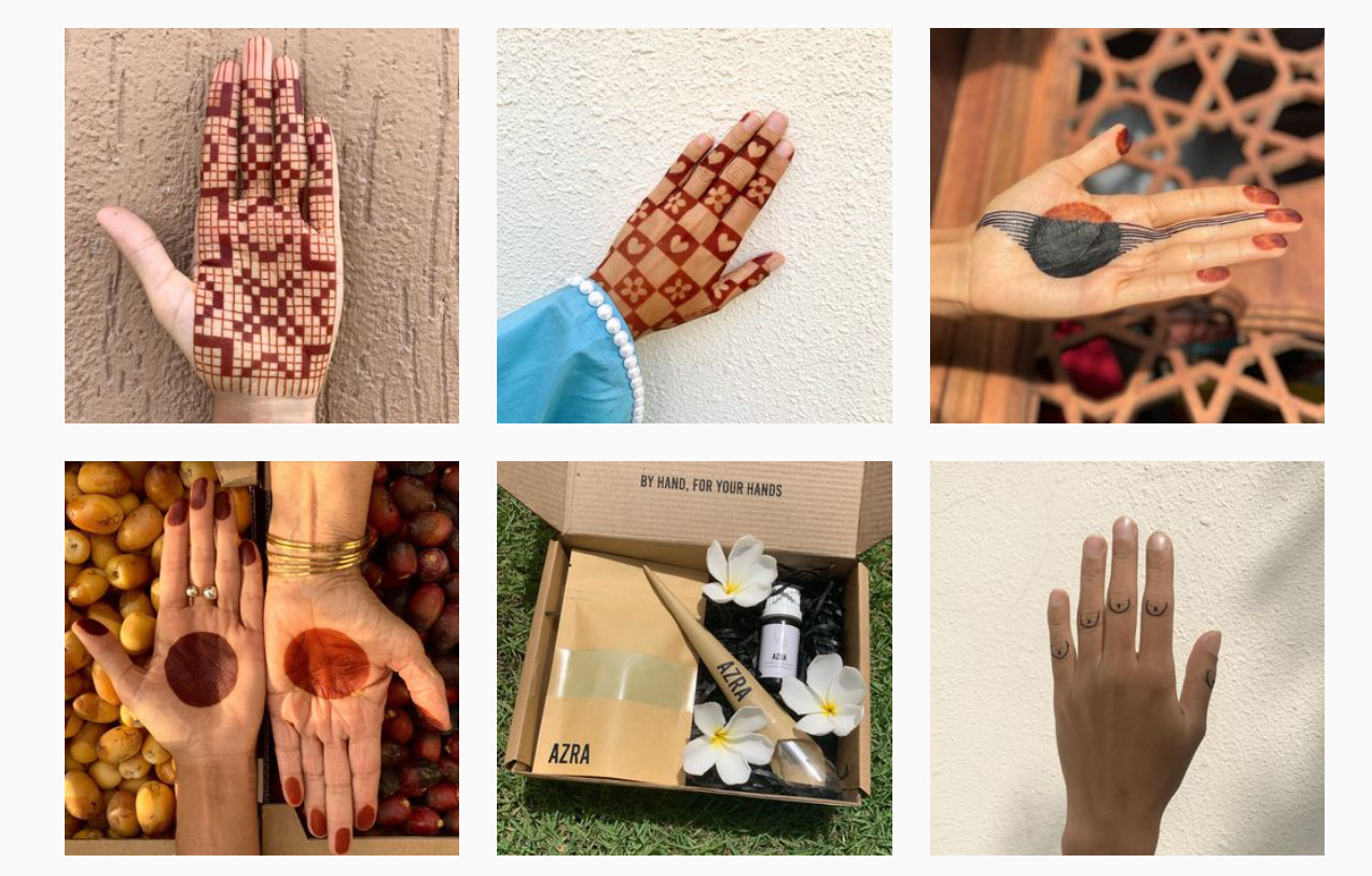 Five posts of simple henna designs on a hand and one post advertising a henna cone and stencil kit in a box.