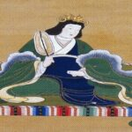[image description: painting of a Japanese woman sitting on the floor in a green and blue kimono.] via Wikimedia Commons