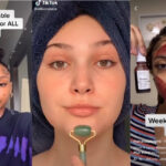 Compilation of skincare TikTokers using screenshots from the app.