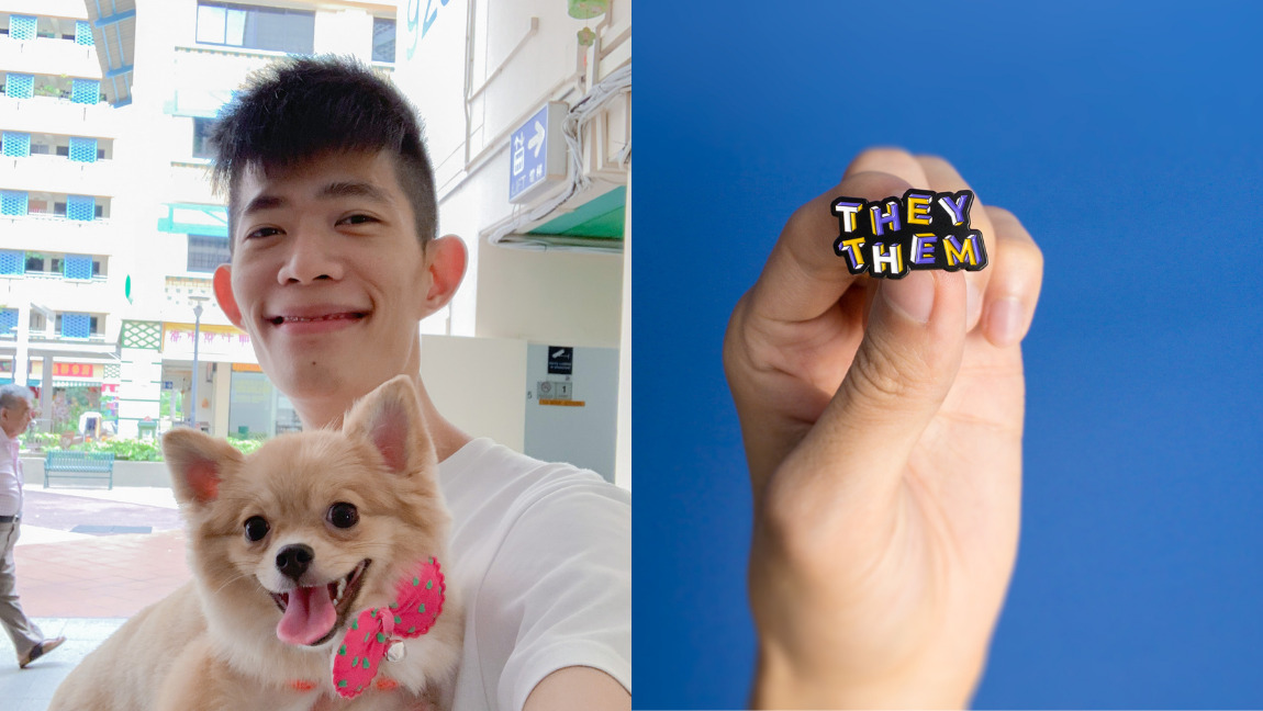 """Founder of Heckin' Unicorn with his dog Nugget, next to a picture of a pin that says """"THEY THEM""""."""