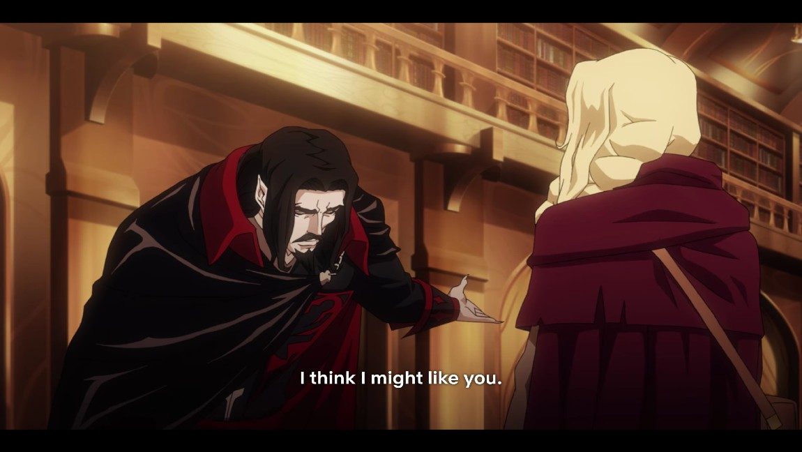 [image description: animated image of a black haired man in a black cape bowing to a blonde woman, with text that reads I think I might like you]