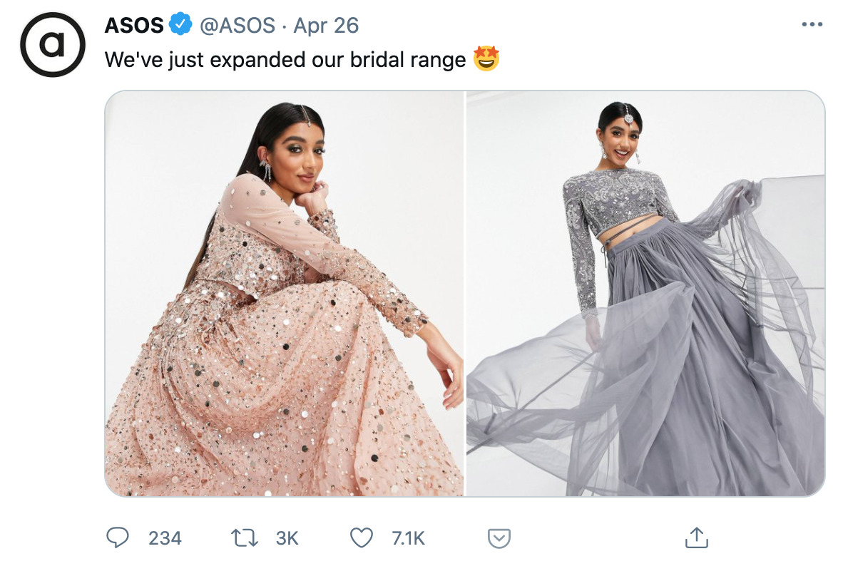 Screenshot of a Tweet by ASOS announcing 'We've just expanded our bridal range' accompanied by two photos of a model wearing a pink dress and a grey dress.