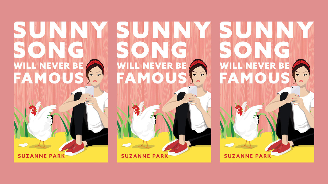 [Image description: the cover of Sunny Song Will Never Be Famous repeated three times on a pink background]
