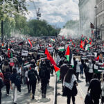 Group of persons gathered for a protest in a city with Palestinian flags