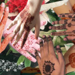 A collage of mehendi on different hands