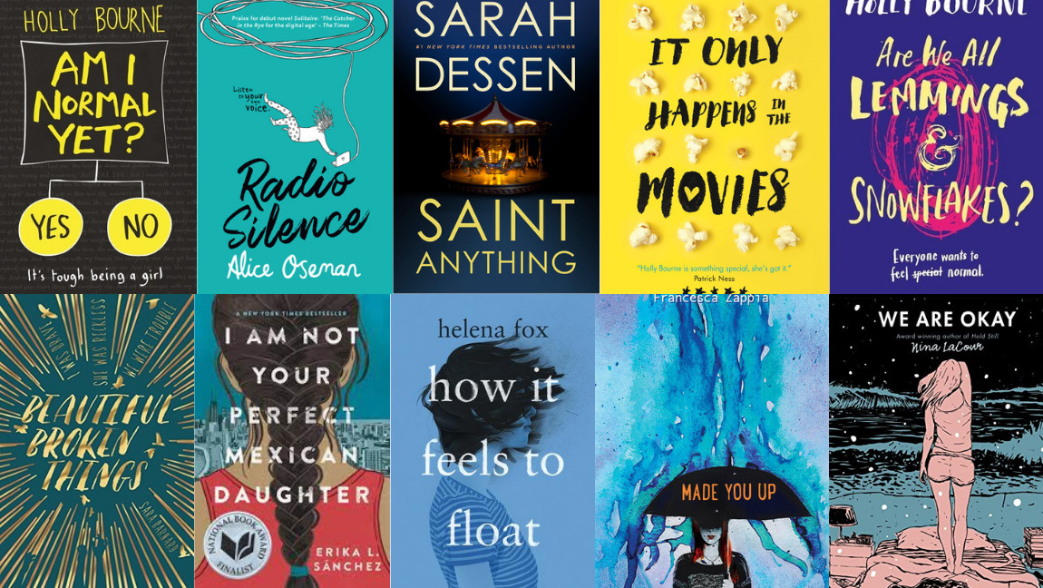 A collage of book covers on YA mental health.