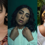 A collage of close-up images of three Brown women