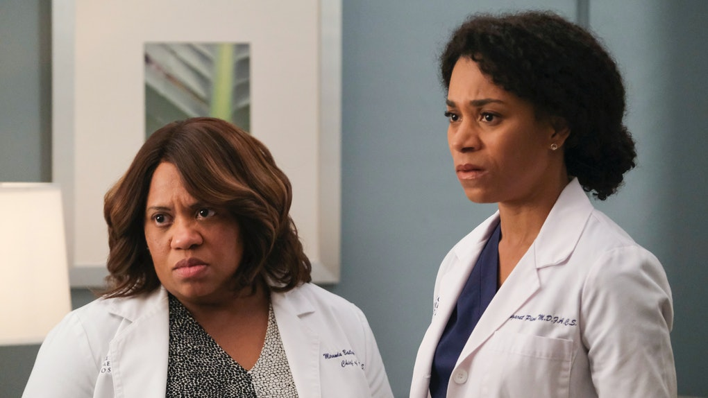 Dr. Miranda Bailey and Dr. Maggie Pierce, played by Chandra Wilson and Kelly McCreary, stand outside a hospital room.