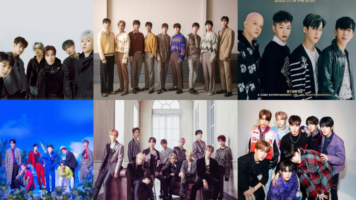 A collage of six promotional photos of (top left to top right) iKon, SF9, BTOB, (bottom left to bottom right) ATEEZ, The Boyz, and Stray Kids