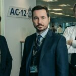 Steve Arnott, Kate Fleming and Ted Hastings, played by Martin Compston, Vicky McClure and Adrian Dunbar, stand in the AC12 offices.