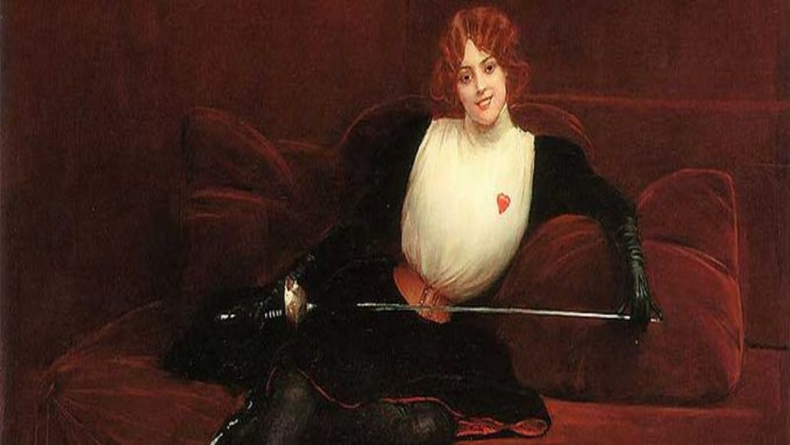 [image description: painting of redhead woman sitting on couch with a sword in her lap] via Wikimedia Commons