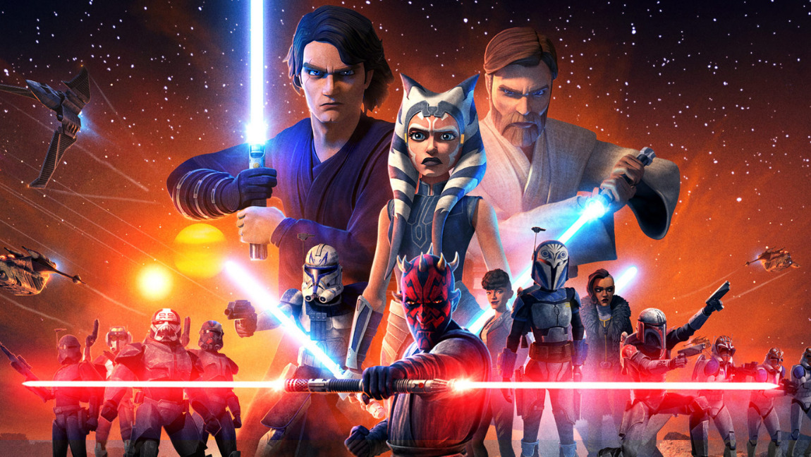 A poster of the characters from The Clone Wars, featuring Anakin Skywalker, Obi-Wan Kenobi, Ahsoka Tano, and Darth Maul in the centre.